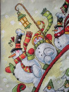 Sledding Snowmen Cross Stitch Christmas stocking - Etsy - Craftycooper