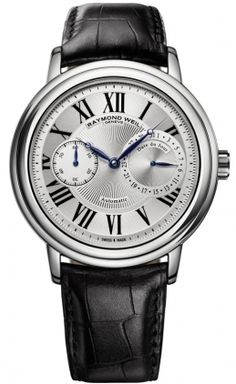 2b71d7150e2 2846-STC-00659 Raymond Weil Maestro Mens Silver Roman Dial Leather Strap  Automatic Watch