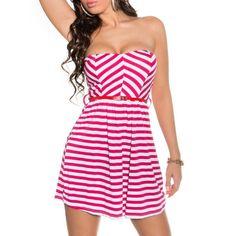 Pruhované letné šaty ružové | OblecTo.sk