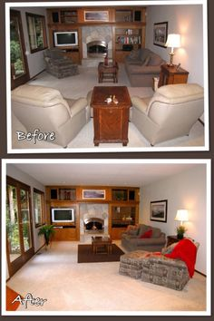 Staging a family room adding a splash of color