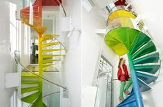 The Rainbow House designed by A.B. Rogers - in London (United Kingdom) is a magical oasis on a busy road filed with people and noise. When you step through its front door, you enter a parallel universe of fun, colour, movement and sensuality, leaving the ordinary world far behind.
