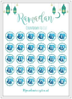 FREEBIE | Print Out 'Countdown to Eid' Calendar (in English, Dutch and Arabic) | Ramadanrecepten.nl