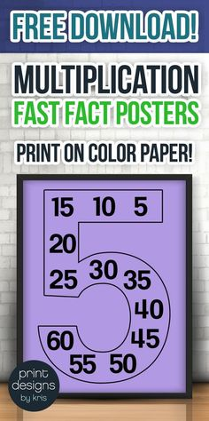 Print these free multiplication fast fact posters on colored paper to save ink and decorate your classroom in style while also providing your students with a fun way to master their multiplication fast facts!