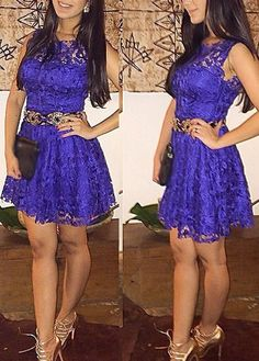 Cute Sleeveless Lace A line Party Dress
