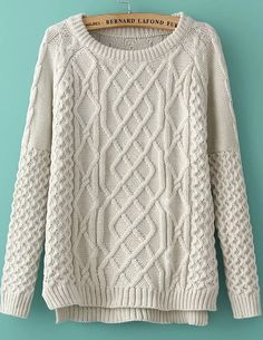 White Long Sleeve Diamond Patterned Knit Sweater - abaday.com