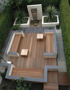 Simple and fresh small backyard garden design ideas Back Gardens, Small Gardens, Outdoor Gardens, Contemporary Garden Design, Landscape Design, Garden Modern, Modern Deck, Modern Contemporary, Contemporary Apartment
