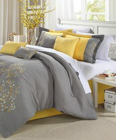 Yellow Floral Embroidered Comforter Set