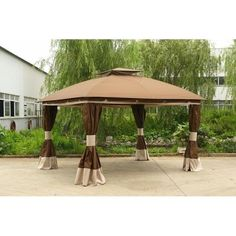 Sunjoy 10 x 12 ft. Replacement Canopy Cover for - Deluxe Healdsburg Gazebo, Brown Grill Gazebo, Patio Gazebo, Backyard, Gazebo Curtains, Canopy Tent, String Lights Outdoor, Outdoor Lighting, Outdoor Gazebos, Outdoor Structures