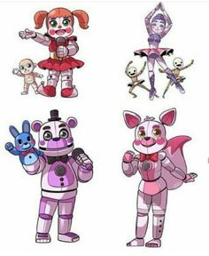 B girl Ballora girl Funtime Freddy boy Funtime Foxy girl Ik more then anybody else cool right Fnaf 4, Anime Fnaf, Baby Sister Location, Five Nights At Freddy's, Fnaf Baby, Freddy 's, Funtime Foxy, Fnaf Characters, Fnaf Drawings