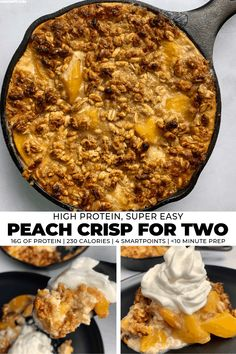 A simple peach filling topped with a cinnamon, oat, and honey crisp topping. Thanks to canned peaches, this peach crisp is prepped and oven ready in less than 10 minutes. Protein Powder Recipes, High Protein Recipes, Healthy Dessert Recipes, Fruit Recipes, Healthy Treats, Macro Recipes, Macro Meals, Healthy Breakfasts, Healthy Baking