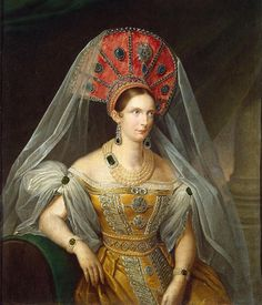 Alexandra Feodorovna (1798 – 1860), the wife of Emperor Nicholas I. She was born as Princess Charlotte of Prussia. / Depicted wearing Russian court dress. Portrait of Empress Alexandra Feodorovna, A. Malyukov, 1836.