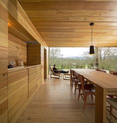 A consistent wood palette makes the interior feel cohesive.