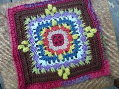"Day 22: 12"" Block of the Day - Embracing Variety by Aurora Suominen  Free Pattern: http://myblueangels.blogspot.com/2012/02/embracing-variety-12-square.html  June 2013 #TheCrochetLounge #12""Square Pick #crochet #grannysquare"