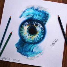 "Elia Pellegrini on Instagram: ""1/4 seasons of irises  -sunmer- Created only with #prismacolor. I hope you like the wave effect fade into the eye! ✨ Eye photo by @eyestructure #elia_pelle #art #artistic #artwork #artoftheday #arts_help #nawden #worldofartists #art_spotlight #sketch_daily #drawing @art.magazine"""