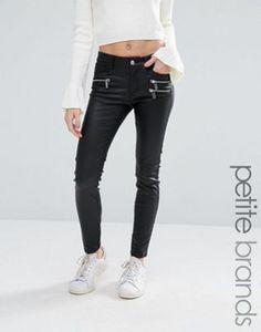 Vero Moda Petite - Jean skinny enduit avec fermetures éclair