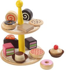 Voila Wooden Pretend & Play Voila Wooden Cake Stand: Amazon.co.uk: Toys & Games