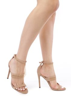 Nude Dangling Beaded detailing Faux Leather Open Toe High Heels
