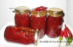 Dulceata de ardei iuti Romanian Food, Romanian Recipes, Preserves, Pickles, Chili, Salsa, Cooking Recipes, Jar, Drinks
