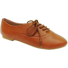 Bamboo Chestnut Lynda Oxford ($15) ❤ liked on Polyvore featuring shoes, oxfords, bamboo shoes, oxford shoes, bamboo footwear and synthetic shoes