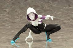 Like other scale ARTFX+ Statues from Kotobukiya, Spider Gwen includes magnets in her feet for extra stability on the included base. Ms Marvel, Marvel Comics, Spider Gwen, Emma Frost, Character Poses, Character Design, X Men, Thor, Spiderman