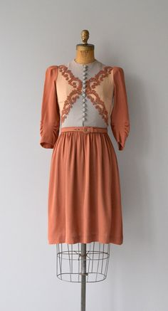 Lebkuchenhaus dress vintage 1930s dress crepe 30s by DearGolden