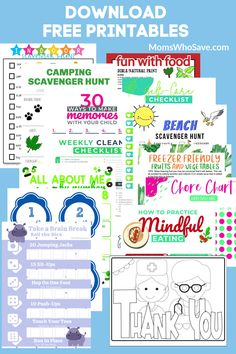 Download Free Printables -- Free printables for the family, self-care, wellness, organization, for kids, games, holidays, for fun, for school, the kitchen, home decor, camping, cleaning, and more!  #free #printables
