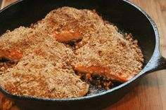 Pecan Crusted Steelhead Trout (or Salmon). I wouldn't use this exact recipe since it calls for brown sugar, but I really, really like this cooking method (searing with high heat for several minutes and then baking at 400 for 8-10 minutes). Looks delish!