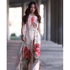De las mujeres fuera del hombro floral elegante de la correa de impresión de la cintura del vestido maxi columpio - USD $ 18.19