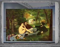 Nombre de la obra: Almuerzo campestre. Fecha: 1863 Estilo : Impresionismo Técnica: Óleo sobre lienzo Medidas: 208 cm × 264,5 cm Autor: Edward MANET Museo: Museo de Orsay de París
