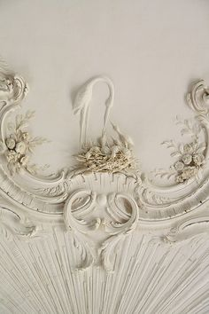 Birds and nest ceiling detail. Rundale Palace, Latvia