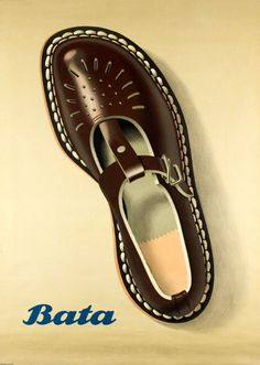 1952 Bata Sandals, Bata is a shoes manufacturer founded in 1894 in Czechoslovakia. Bata is now a worldwide shoe company, vintage advert poster Vintage Advertisements, Vintage Ads, Vintage Prints, Shoe Advertising, Advertising Poster, Fürstentum Liechtenstein, Bata Shoes, Shoe Poster, Posters Vintage