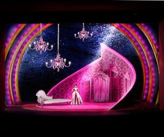 Colorful stage design; Curved wall backdrops; Candide Scenic Design by Douglas Clarke