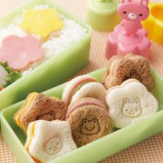 Japanese Bento Box Accessories Sandwich Vegetable Cutter 3 Stamps - All Things For Sale Japanese Bento Lunch Box, Bento Box Lunch, Japanese Sandwich, Bento Food, Box Lunches, School Lunches, Mini Sandwiches, Finger Sandwiches, Cute Food