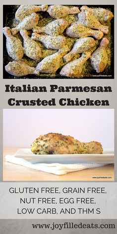 Italian Parmesan Crusted Chicken - gluten free, grain free, nut free, egg free, low carb, and THM S