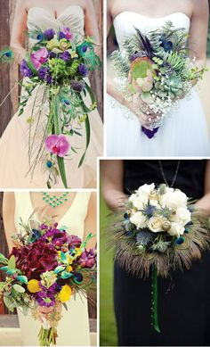 Like the 1st and 4th peacock feathers look good in bouquets! Loooove!!
