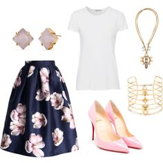 White tshirt & Midi Skirt by stellastylistelizabeth on Polyvore featuring AG Adriano Goldschmied, Chicwish, Christian Louboutin and Stella & Dot