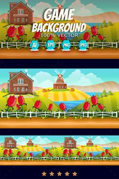 Farm Cartoon Background by VitaliyVill Game Asset Game Background. You can use this background for your game application/project. The Game background is made with 100 v Game Background, Cartoon Background, Typography Design, Logo Design, Graphic Design, Free Game Assets, Farm Cartoon, Green And Orange, Orange Farm