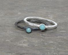 Tiny Amazonite Bezel Set Stone Stacker Ring in Sterling Silver or Choose Your Gemstone