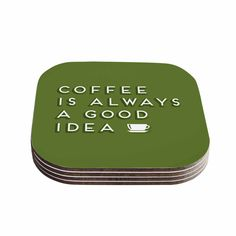 """Busy Bree """"Good Idea"""" Green Tyopgraphy Coasters (Set of 4) - KESS InHouse  - 1"""