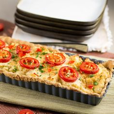 A two-cheese savory tart made with creamy potatoes and jalapeno peppers.