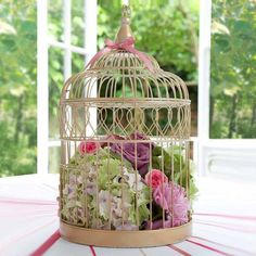 bird cages with flowers