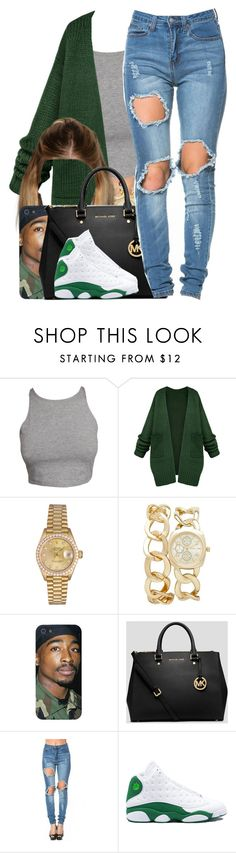 """Meek Mill / Check"" by nasiaamiraaa ❤ liked on Polyvore featuring Rolex, Forever New, MICHAEL Michael Kors, Retrò and NanaOutfits"