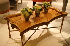 """(Click to view larger) Amy Howard Home """"Brigitta Cocktail Table""""   A current trend of recyle, reclaim and make simple.  A silhouette from her couture line in 100 year old reclaimed wormy chestnut.  www.AmyHowardHome.com  IHFC Interhall 601  #hpmkt"""