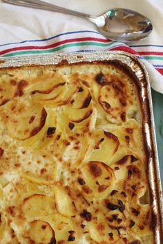 Buttermilk Scalloped Potatoes. Yukon gold potatoes layered with a white sauce of buttermilk, sweet onions and garlic.