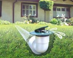 A pop-up drain emitter is part of a system that more efficiently carries water away from a house's foundation than a standard downspout.