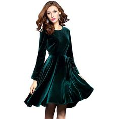 Elegant A-Line Velvet Dark Green Evening Dress - Uniqistic.com