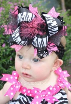 Hot Pink Zebra Huge Hair Bow i must find this bow!