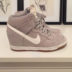 NIKE SKY HI DUNK SNEAKER WEDGE HI TOP Grey suede/white leather Nike Sky Hi Dunk purchased at Barneys. Worn gently 1 time. Size US Women's 10. Nike Shoes Sneakers