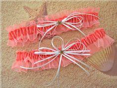 Starfish Bridal Garters Coral Salmon Keepsake and by All4Brides, $30.00