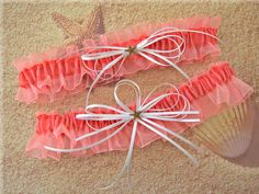 Coral Beach Wedding Starfish Bridal Garters Keepsake by All4Brides,